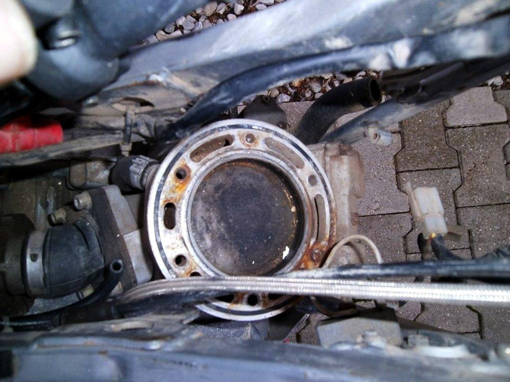 Aufsicht auf Zylinder und Kolben